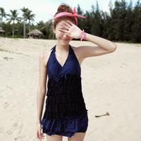 Free shipping bikinis 2014 swimwear cake halter-neck polka dot split beachwear women swimsuit