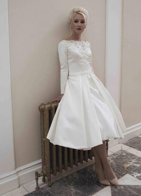 2014 new custom size white ivory scoop neckline long for Long sleeve tea length wedding dresses