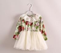 2014 Spain design kid clothes beautiful girl long sleeve lace dress autumn baby princess flower tutu dress retail top quality!