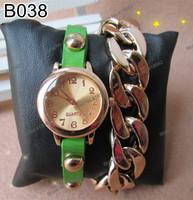 B038- New Fashion Punk Style Women's Ladies Genuine Leather Wrap Golden Leather Chain Quartz Dress Wristwatches 7 colors