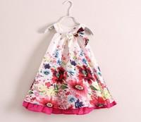 Free shipping New Retail Summer girl's flower dress,girl's suspenders dress 3colors Euro designer girls dress free shipping 2-7y