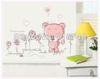 Cartoon Lovely Pink Bear Flowers Decal Vinyl Wall Stickers PVC Decor Removable DIY Home Art Wallpaper Room House Sticker Poster