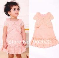 Free Shipping Children Clothing Girl's turn down collar pink mini dot ruffles dress