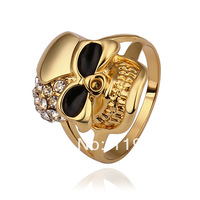 LR514 New 18K Yellow Gold Plated Skull Finger Rings Top Quality Austrian Crystal Pave Items Fashion Day of the Dead Jewelry