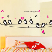home decor Sofa tv background wall decoration wall stickers electrical wire swallow  wall sticker