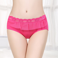 Women's mid waist  lace breathable sexy  fibre briefs free shipping