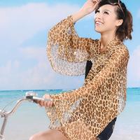 Free Shipping 2014 New Fashion Style Chiffon Sunscreen Pashmina Shawls Summer Sun Protection Scarves Leopard Brand