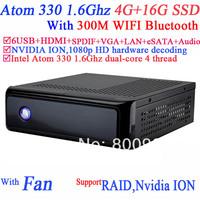 mini pc windows 7 linux with NVIDIA ION MCP7A Intel Atom 330 dualcore 4 thread 1.6G 1080p HD hardware decoding 4G RAM 16G SSD