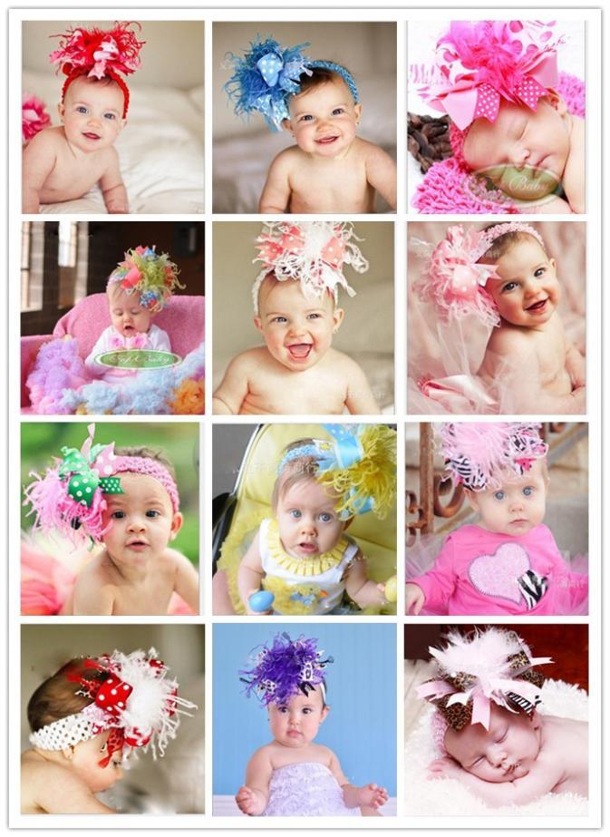 Hair styling copricapo di piume fiore bambino bimba fascia, bambini ragazzi fotografia headwear accessori per capelli 10 pezzi