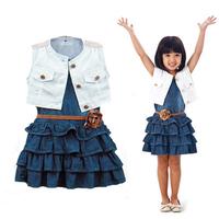 2014 baby girl navy vintage dress sets white coat + denim dress diamond clothing sets new jeans clothes 5pcs/lot kids wear suits