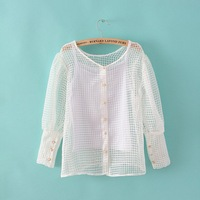 Spring new women organza puff sleeve short shirt strap shirt piece xy-2484