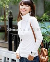 Pullovers Free Shipping 2013 Women's Spring New Arrival Milk Velvet Turtleneck Long-sleeve Basic Shirt White Solid Sweater R03