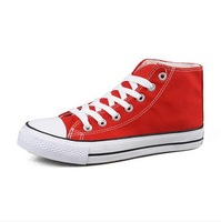 Free shipping 2014 BRAND NEW Classic Korean tidal College Wind solid couple high-top canvas shoes for women