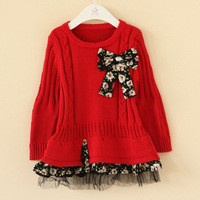 Child cotton thread basic pullover bow one-piece dress faux two piece knitted sweater