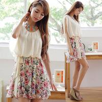 Free shipping 2014 new Korean princess dress bat -sleeved floral chiffon dress pleated a generation of fat