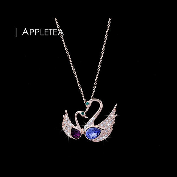 appletea - Stay by me forever 18K rose gold double crystal swan birds pendant necklace mother and daughter necklace - AN0048(China (Mainland))