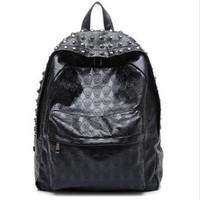 Double-shoulder backpack  personality skull backpacks student school bag  2014 Fashion spring