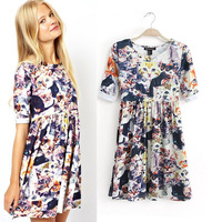 Factory Outlet wholesale new European style cash money cat print short-sleeved dress with wp2280