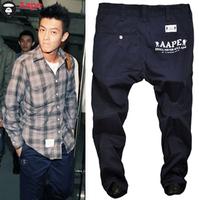 Men's clothing bape plus size slim pants aape male shampooers clot pants casual pants taper