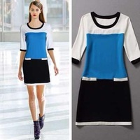 Spring new European and American women's star with money mixed colors hit the color casual short-sleeved loose knit dress xy-248
