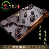 Ebony wood tea tray all solid wood Large teaberries log tea sea tea sets multi-layer handmade carved mahogany teaberries