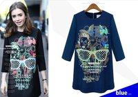 Spring 2014 new European and American women's Han Guoguan network skull eye print dress j-2371