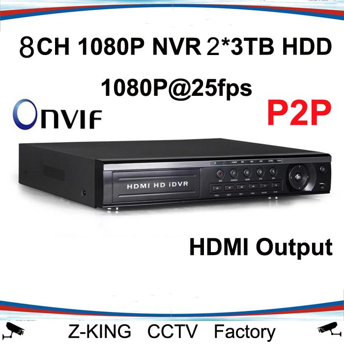H. 264 onvif 8ch 1080p nvr 2*3tb hdd soutien sortie hdmi p2p icloud fonction