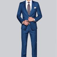 custon men suit set High quality navy blue wedding dress male slim suits  male  jacket + pant  large size