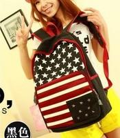 canvas leather backpack  American flag rivet student school bag female backpacks double-shoulder preppy style