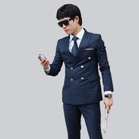 custom men suit set jacket + pant set fashion dark blue metal double button breasted male wedding dress slim suits