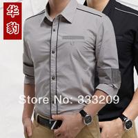 High quality 100% cotton Man dress mens shirt New Spring 2014 men's long sleeve slim fit shirts Free shipping
