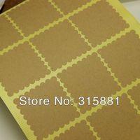 square Scallop Kraft Blank Sticker Labels , envelope seals stickers