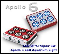 free shipping 2pcs/lot  Apollo 6 72*3W LED Aquarium Light fish marine coal reef aquarium led lighting made in China