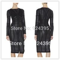 in stock 2014 New Women's Black long sleeve Bandage evening dress pencil Dress 'SAMMY' BLACK FULL FRONT ZIP BANDAGE DRESS