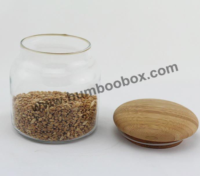 Bamboo glass kitchen storage jars(China (Mainland))