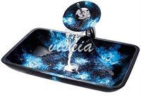 Vessel Glass Sink Scrub  for Bathroom Glass basin Hand Paint color Brass Water Faucet Set VK5031 Light & Navy Blue