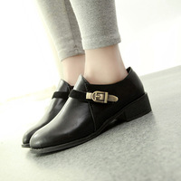 2014 metal buckle thick heel ankle boots women's leather boots autumn and winter warm shoes