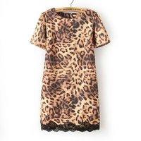 Fashion Women zara2014 Summer Dress European Style Leopard Dress Lace Hem O-Neck Short Sleeve Casual Dresses Vestido