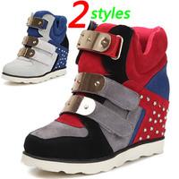 Shiny Metal Wedge Sneakers Genuine Leather,Sided zipper,EU 35~39,Height Increasing 6cm,Women`s Shoes,Drop Shipping/Free Shipping