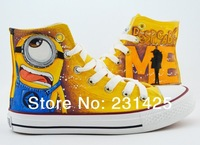 2014 cartoon anime figure women despicable me shoes minion shoes women and men canvas high tops sneakers women shoes minions