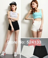 summer American Apparel AA style vintage simple slim high waist skinny Jean shorts solid color pink white Hot pants