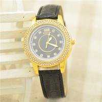Hot Market! Special Supply Wholesale Fashion Round Rhinestone Studded Leather Quartz Watches Women