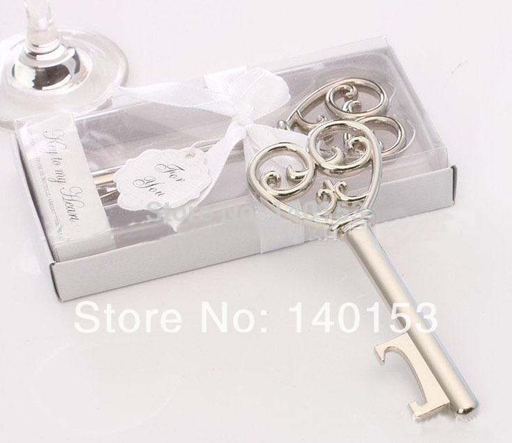 factory price 100pcs lot romantic heart key wedding favor openers metal wine. Black Bedroom Furniture Sets. Home Design Ideas