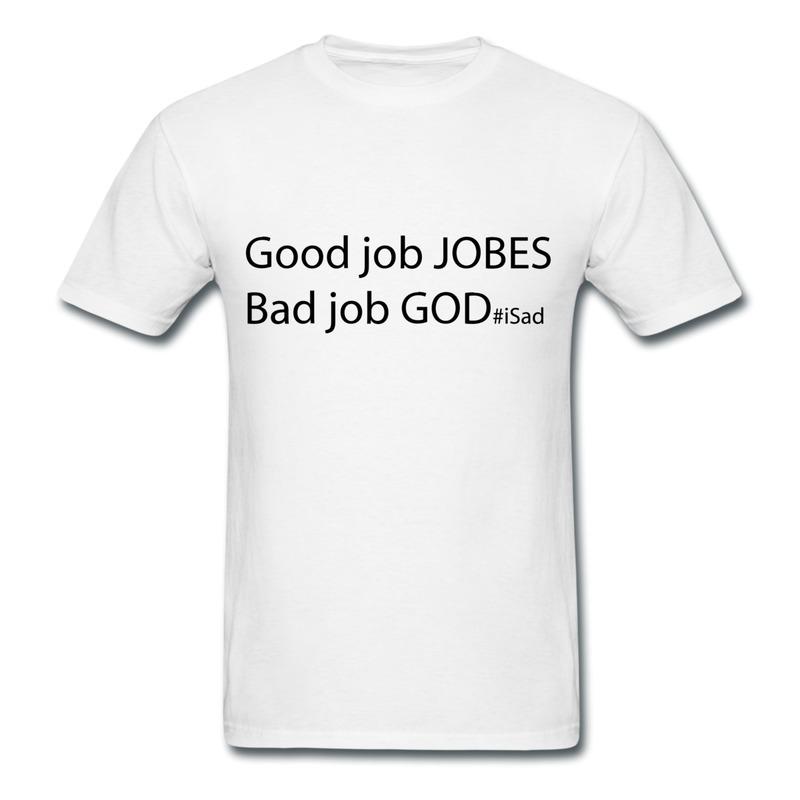 Pre-Cotton Men's Tee Shirt God Job vs Good Jobs - Steve Jobs tribute Printed Geek Logo T for Mens Unique Design(China (Mainland))