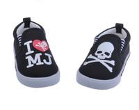 2014 hot modish Children's baby sneaker Skull Kids boy shoe black baby shoes Leisure shoe 1- 6 year