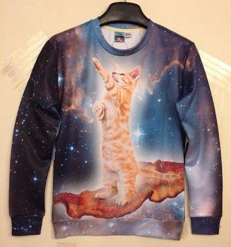 2014 Женщины's 3D Hoodies Funny printed animal Standing cat space galaxy 3d ...