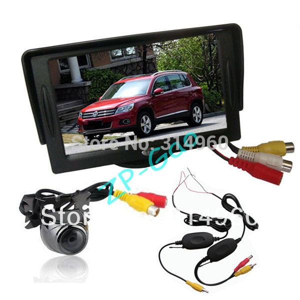 "4.3"" TFT LCD Monitor Car Rear View Kit + Wireless Metal Reversing Camera Sensor 170 Degree Waterproof Free Shipping(China (Mainland))"
