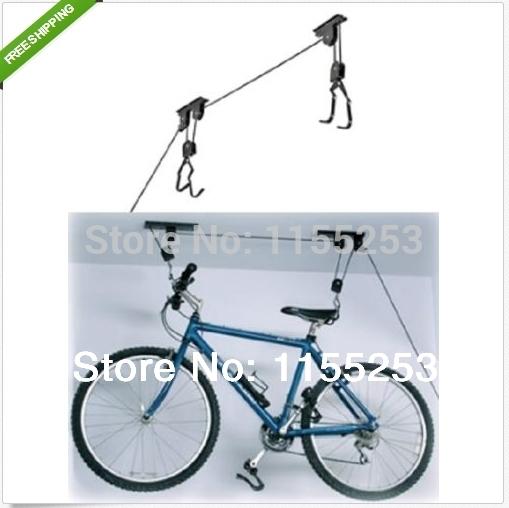 New Bike Bicycle Lift Ceiling Mounted Hoist Storage Garage Hanger Pulley Rack,free shipping(China (Mainland))