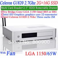 celeron dual core G1820 2.7Ghz CPU LGA1150 HTPC Mini PCs with Ivy Bridge Multi card 2G RAM 16G SSD Windows or Linux installed