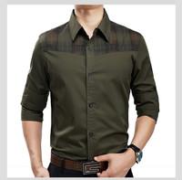 2014 New Fshion Man Military Style dress mens shirt men's long sleeve slim fit shirts Free shipping high quality 100% cotton